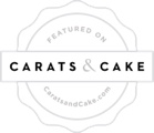 Featured on wedding blog Carats and Cake badge